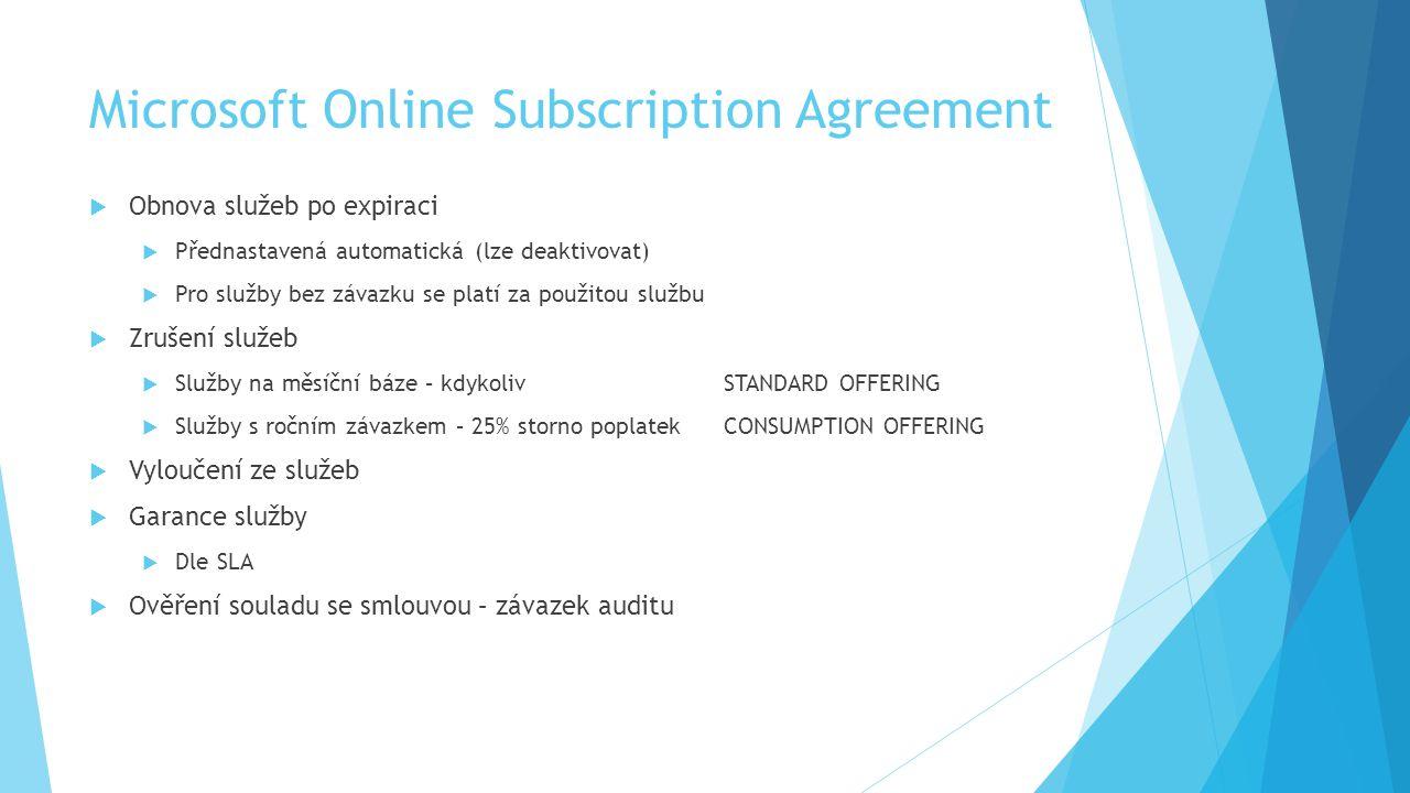 Microsoft Online Subscription Agreement  Obnova služeb po expiraci  Přednastavená automatická (lze deaktivovat)  Pro služby bez závazku se platí za