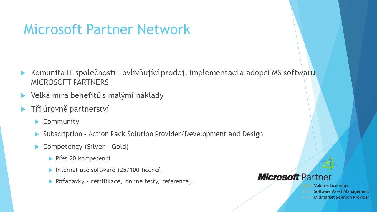 Microsoft Partner Network  Komunita IT společností – ovlivňující prodej, implementaci a adopci MS softwaru – MICROSOFT PARTNERS  Velká míra benefitů