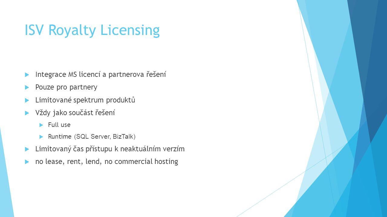 ISV Royalty Licensing  Integrace MS licencí a partnerova řešení  Pouze pro partnery  Limitované spektrum produktů  Vždy jako součást řešení  Full