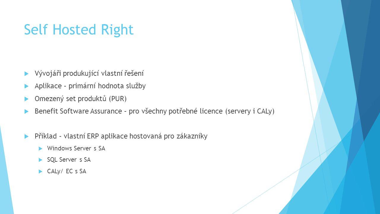 Self Hosted Right  Vývojáři produkující vlastní řešení  Aplikace – primární hodnota služby  Omezený set produktů (PUR)  Benefit Software Assurance