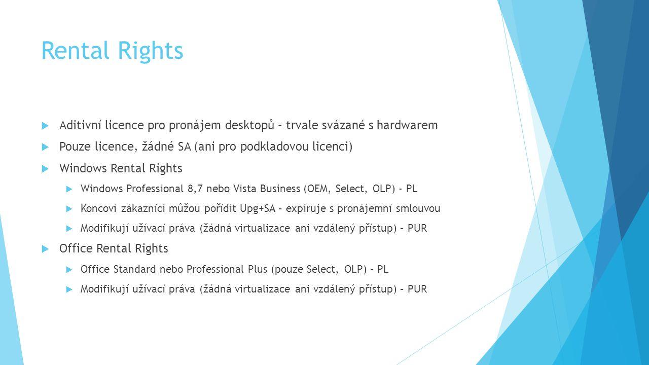 Rental Rights  Aditivní licence pro pronájem desktopů – trvale svázané s hardwarem  Pouze licence, žádné SA (ani pro podkladovou licenci)  Windows
