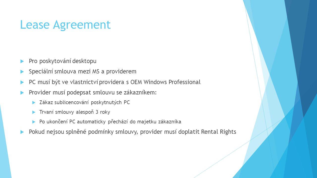 Lease Agreement  Pro poskytování desktopu  Speciální smlouva mezi MS a providerem  PC musí být ve vlastnictví providera s OEM Windows Professional