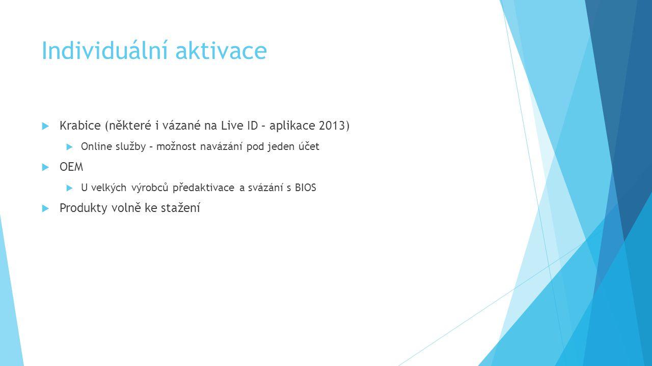 Individuální aktivace  Krabice (některé i vázané na Live ID – aplikace 2013)  Online služby – možnost navázání pod jeden účet  OEM  U velkých výro
