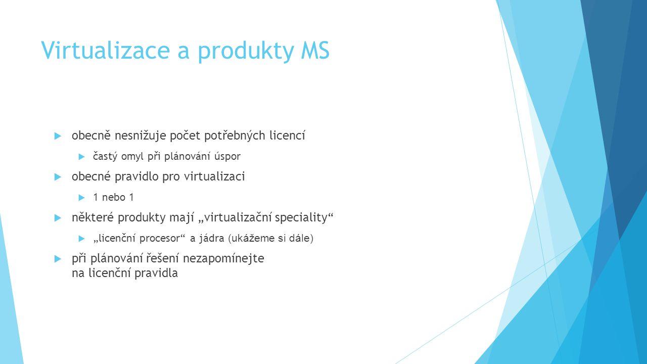 Virtualizace a produkty MS  obecně nesnižuje počet potřebných licencí  častý omyl při plánování úspor  obecné pravidlo pro virtualizaci  1 nebo 1