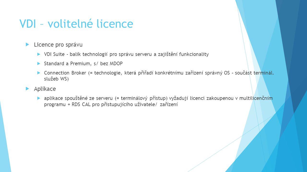 VDI – volitelné licence  Licence pro správu  VDI Suite - balík technologií pro správu serveru a zajištění funkcionality  Standard a Premium, s/ bez