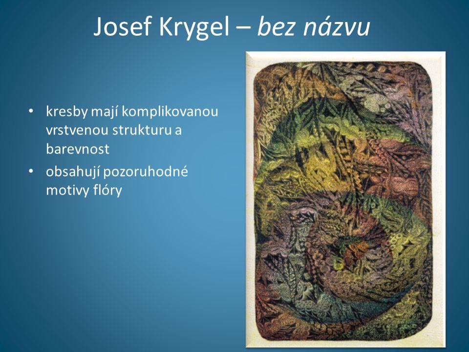 Josef Krygel – bez názvu • kresby mají komplikovanou vrstvenou strukturu a barevnost • obsahují pozoruhodné motivy flóry