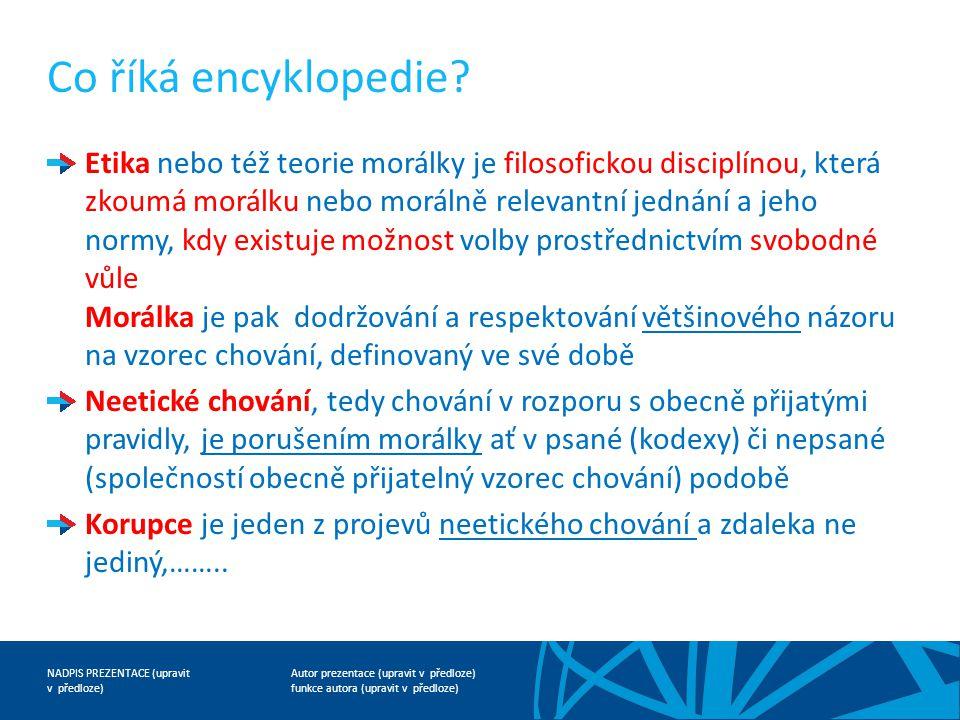 Autor prezentace (upravit v předloze) funkce autora (upravit v předloze) NADPIS PREZENTACE (upravit v předloze) Co říká encyklopedie.