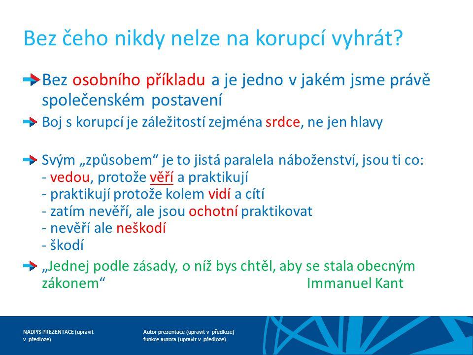 Autor prezentace (upravit v předloze) funkce autora (upravit v předloze) NADPIS PREZENTACE (upravit v předloze) Bez čeho nikdy nelze na korupcí vyhrát.
