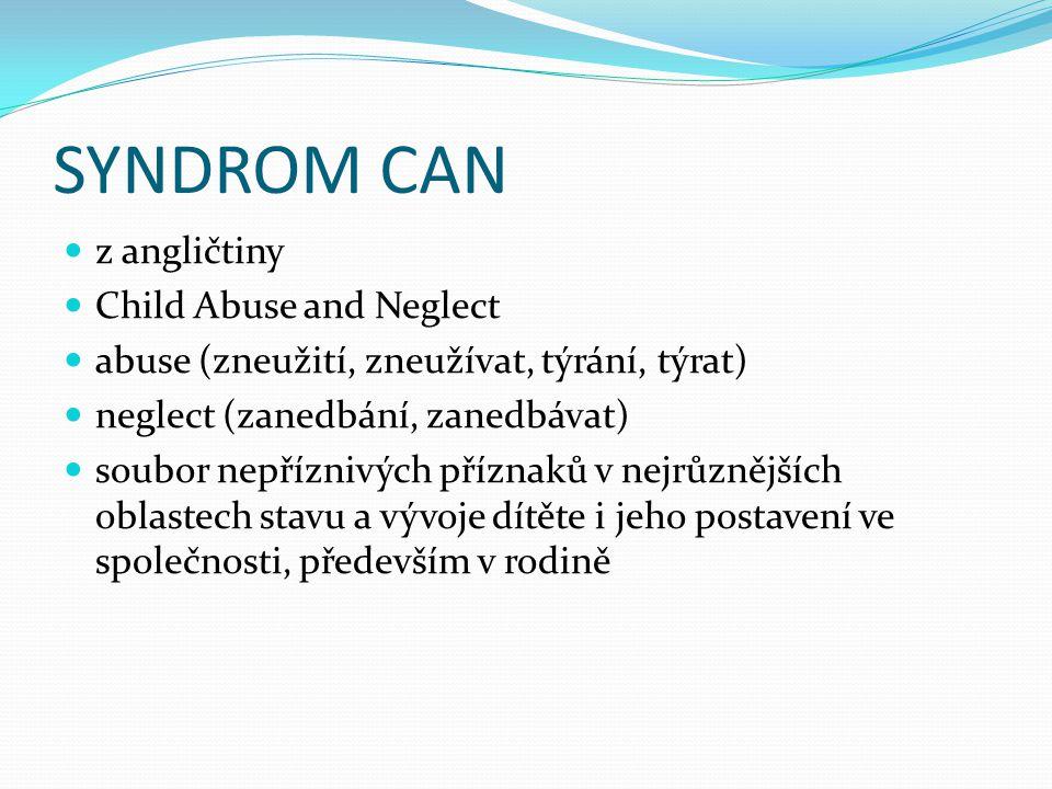 SYNDROM CAN  z angličtiny  Child Abuse and Neglect  abuse (zneužití, zneužívat, týrání, týrat)  neglect (zanedbání, zanedbávat)  soubor nepřízniv