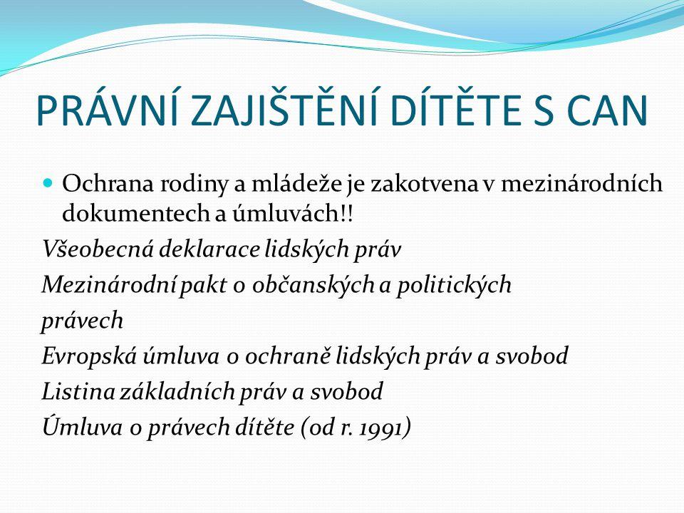 PRÁVNÍ ZAJIŠTĚNÍ DÍTĚTE S CAN  Ochrana rodiny a mládeže je zakotvena v mezinárodních dokumentech a úmluvách!! Všeobecná deklarace lidských práv Mezin