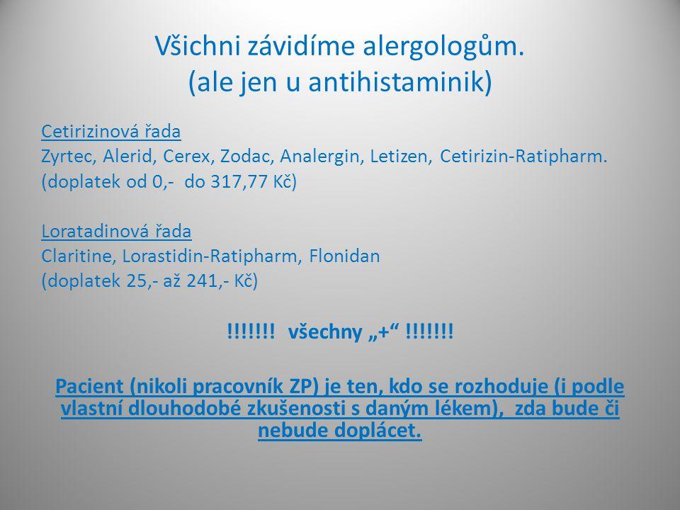 Všichni závidíme alergologům. (ale jen u antihistaminik) Cetirizinová řada Zyrtec, Alerid, Cerex, Zodac, Analergin, Letizen, Cetirizin-Ratipharm. (dop