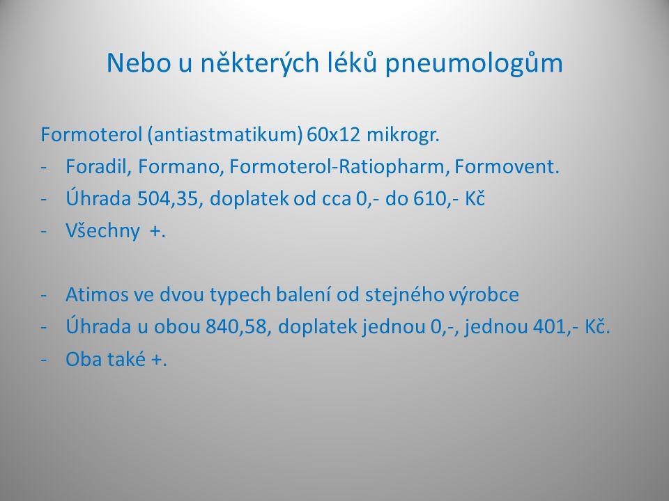 Nebo u některých léků pneumologům Formoterol (antiastmatikum) 60x12 mikrogr. -Foradil, Formano, Formoterol-Ratiopharm, Formovent. -Úhrada 504,35, dopl