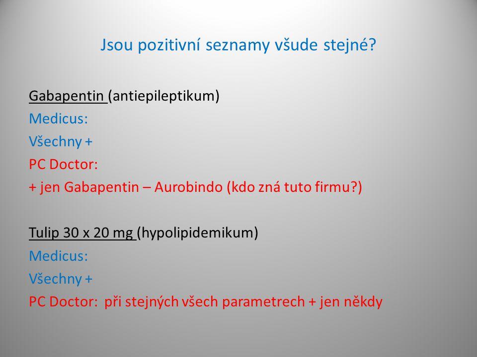 Jsou pozitivní seznamy všude stejné? Gabapentin (antiepileptikum) Medicus: Všechny + PC Doctor: + jen Gabapentin – Aurobindo (kdo zná tuto firmu?) Tul
