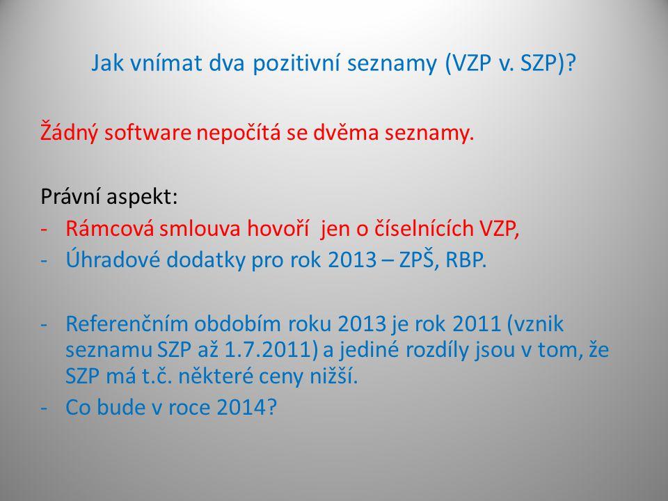 Jak vnímat dva pozitivní seznamy (VZP v. SZP)? Žádný software nepočítá se dvěma seznamy. Právní aspekt: -Rámcová smlouva hovoří jen o číselnících VZP,