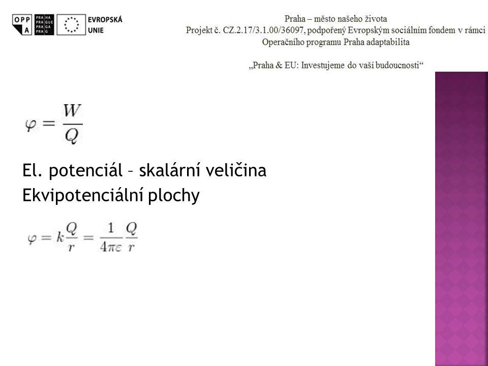 El. potenciál – skalární veličina Ekvipotenciální plochy