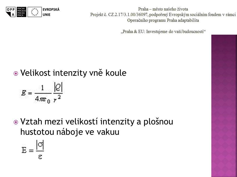  Velikost intenzity vně koule  Vztah mezi velikostí intenzity a plošnou hustotou náboje ve vakuu
