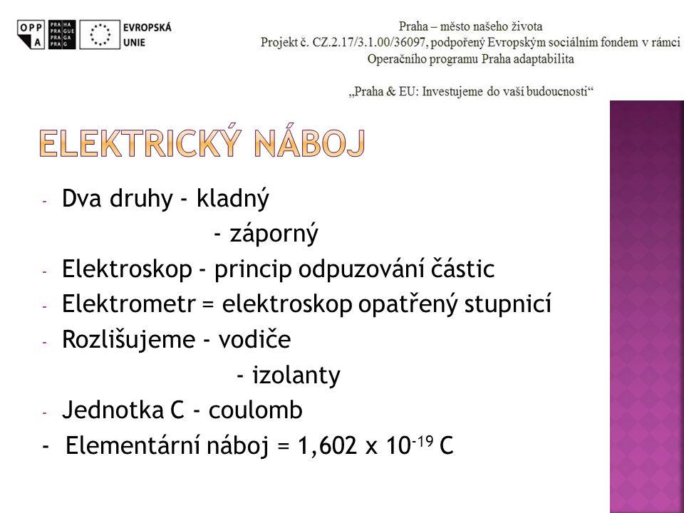 - Dva druhy - kladný - záporný - Elektroskop - princip odpuzování částic - Elektrometr = elektroskop opatřený stupnicí - Rozlišujeme - vodiče - izolan