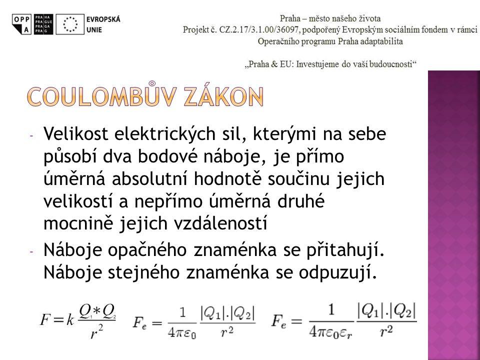- Velikost elektrických sil, kterými na sebe působí dva bodové náboje, je přímo úměrná absolutní hodnotě součinu jejich velikostí a nepřímo úměrná dru