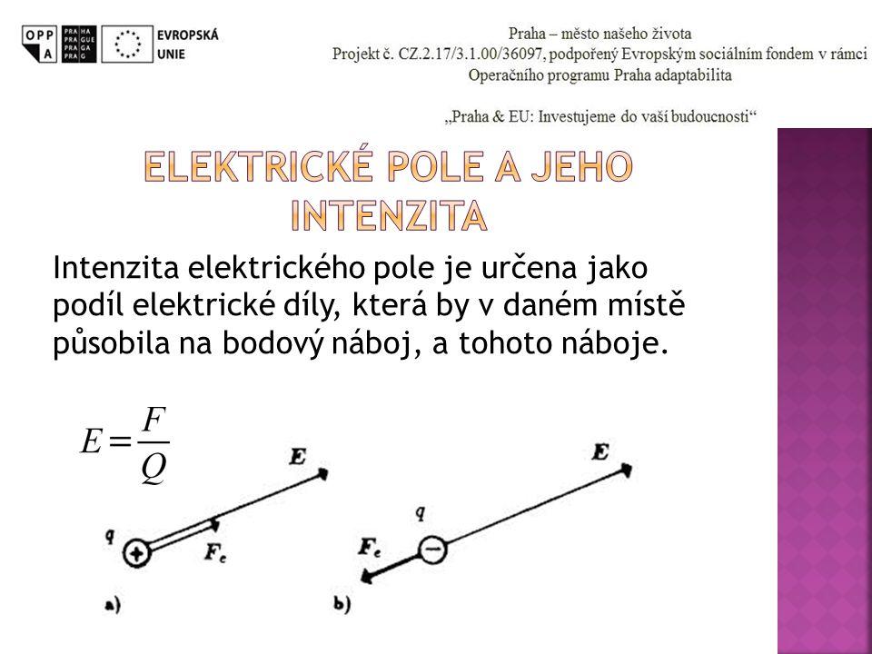 Intenzita elektrického pole je určena jako podíl elektrické díly, která by v daném místě působila na bodový náboj, a tohoto náboje.