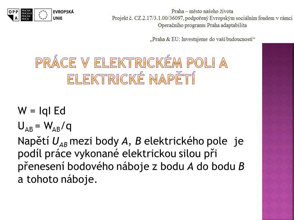 W = IqI Ed U AB = W AB /q Napětí U AB mezi body A, B elektrického pole je podíl práce vykonané elektrickou silou při přenesení bodového náboje z bodu