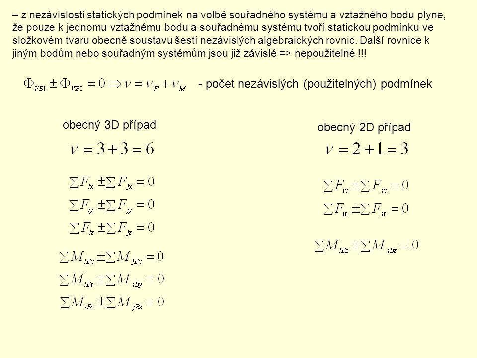 – z nezávislosti statických podmínek na volbě souřadného systému a vztažného bodu plyne, že pouze k jednomu vztažnému bodu a souřadnému systému tvoří