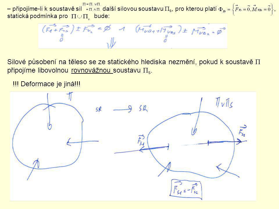 – připojíme-li k soustavě sil další silovou soustavu  s, pro kterou platí, statická podmínka pro bude: Silové působení na těleso se ze statického hle