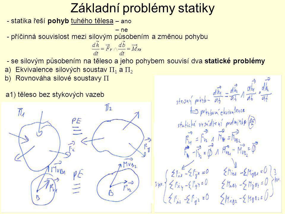 a2) nepohyblivě uložené těleso – nepohybuje se => PE nepoužitelná Hledisko ekvivalence – nutné těleso uvolnit => vazby myšleně nahradit silovým působením – shodnost výsledných charakteristik soustav stykových sil  R1 a  R2  => vazbová ekvivalence (VE)