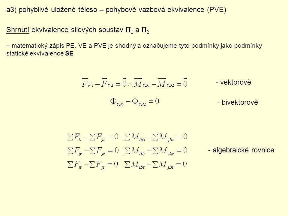 Statická rovnováha SR – v čase významně charakteristiky pohybu nemění => mechanický klid b1) těleso bez stykových vazeb b2) nepohyblivě vázané těleso uvolnění 6 algebraických rovnic Silově: Pohybově: