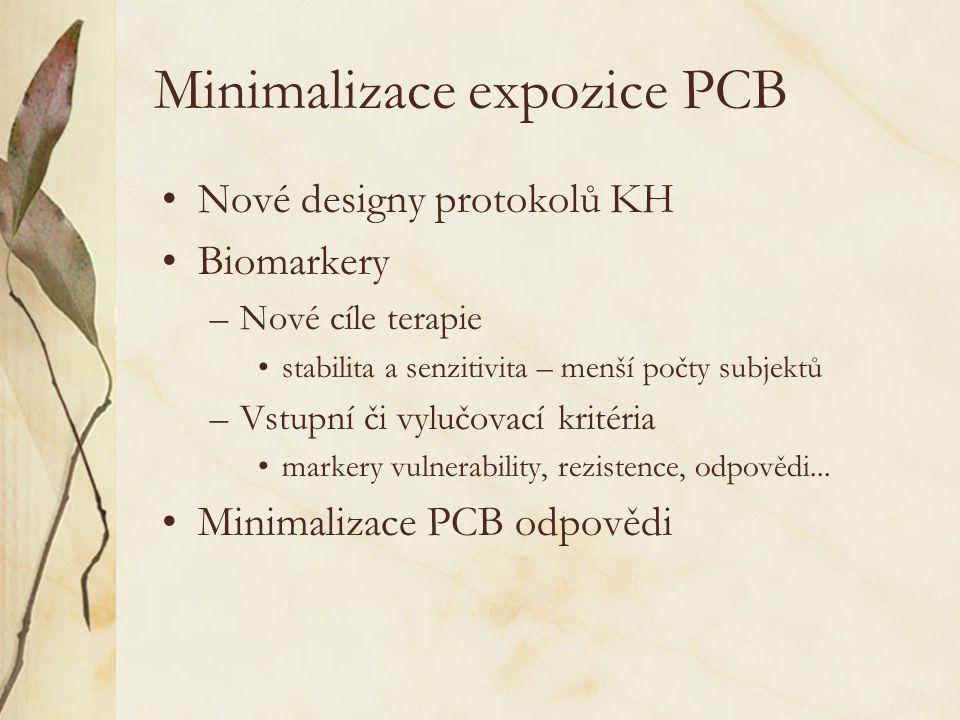 Minimalizace expozice PCB •Nové designy protokolů KH •Biomarkery –Nové cíle terapie •stabilita a senzitivita – menší počty subjektů –Vstupní či vylučo