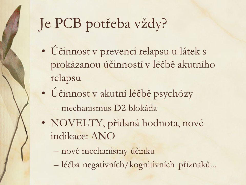 Je PCB potřeba vždy? •Účinnost v prevenci relapsu u látek s prokázanou účinností v léčbě akutního relapsu •Účinnost v akutní léčbě psychózy –mechanism