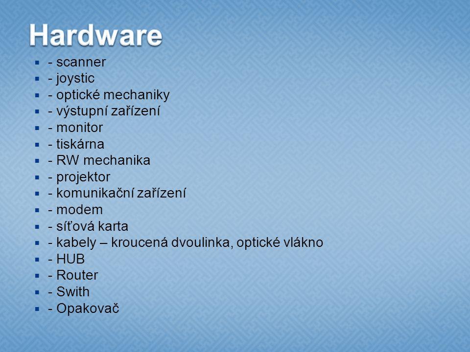  - scanner  - joystic  - optické mechaniky  - výstupní zařízení  - monitor  - tiskárna  - RW mechanika  - projektor  - komunikační zařízení  - modem  - síťová karta  - kabely – kroucená dvoulinka, optické vlákno  - HUB  - Router  - Swith  - Opakovač