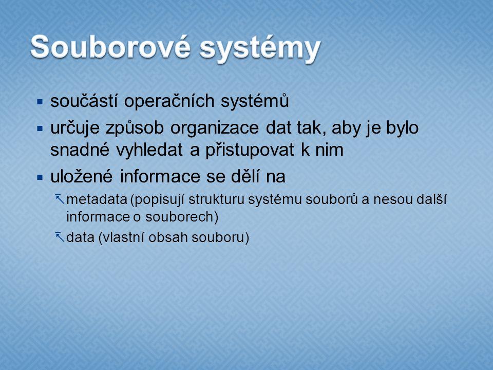  součástí operačních systémů  určuje způsob organizace dat tak, aby je bylo snadné vyhledat a přistupovat k nim  uložené informace se dělí na  metadata (popisují strukturu systému souborů a nesou další informace o souborech)  data (vlastní obsah souboru)
