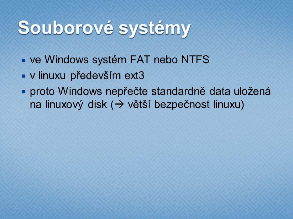  ve Windows systém FAT nebo NTFS  v linuxu především ext3  proto Windows nepřečte standardně data uložená na linuxový disk (  větší bezpečnost linuxu)