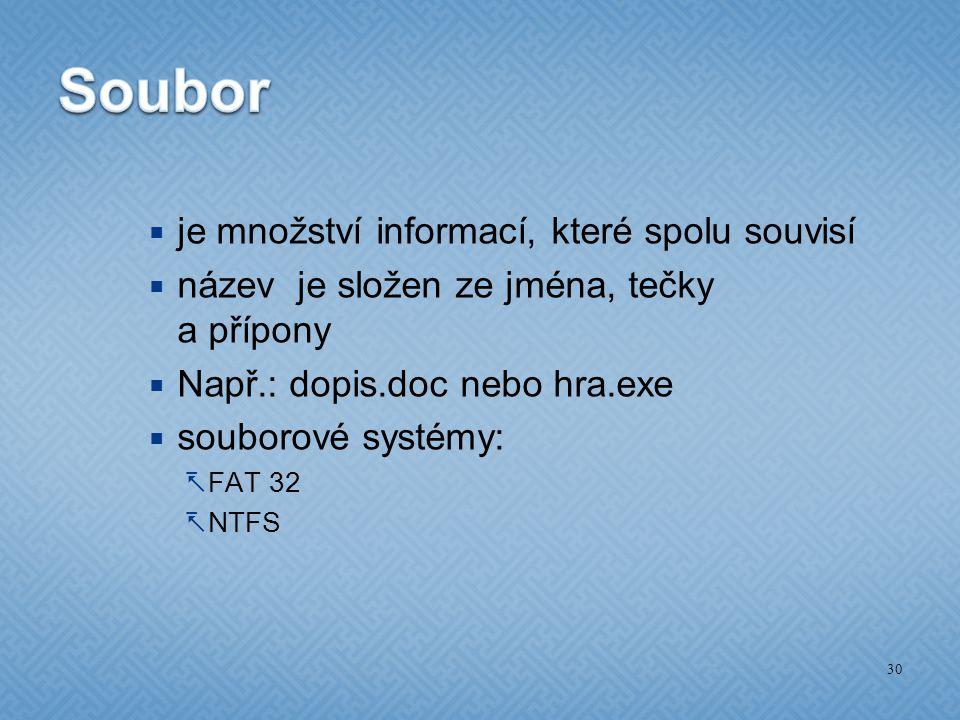  je množství informací, které spolu souvisí  název je složen ze jména, tečky a přípony  Např.: dopis.doc nebo hra.exe  souborové systémy:  FAT 32  NTFS 30