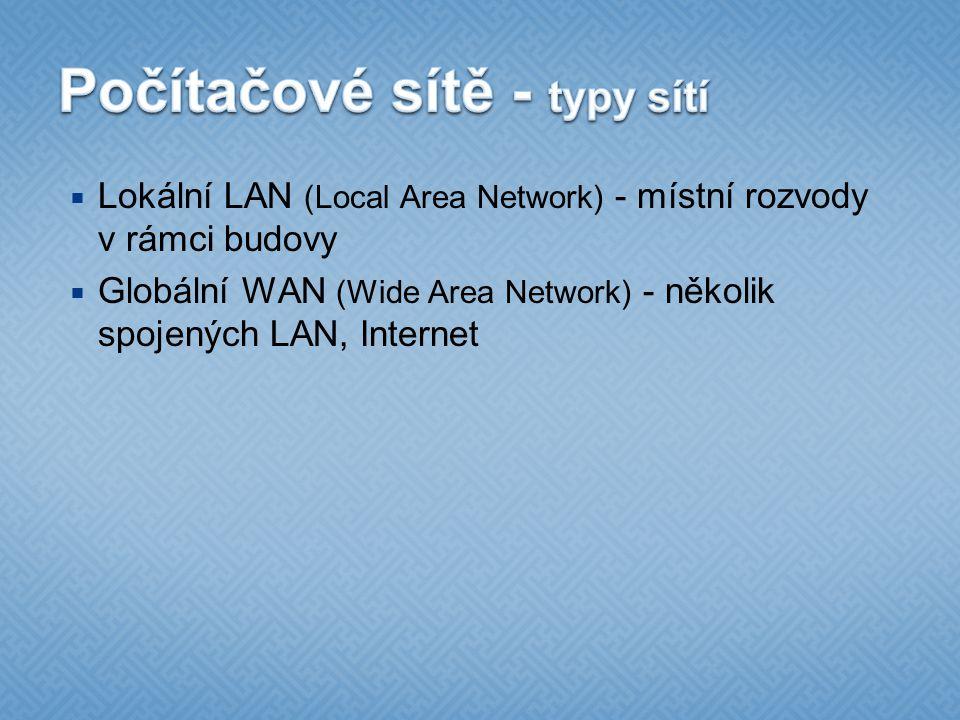  Lokální LAN (Local Area Network) - místní rozvody v rámci budovy  Globální WAN (Wide Area Network) - několik spojených LAN, Internet