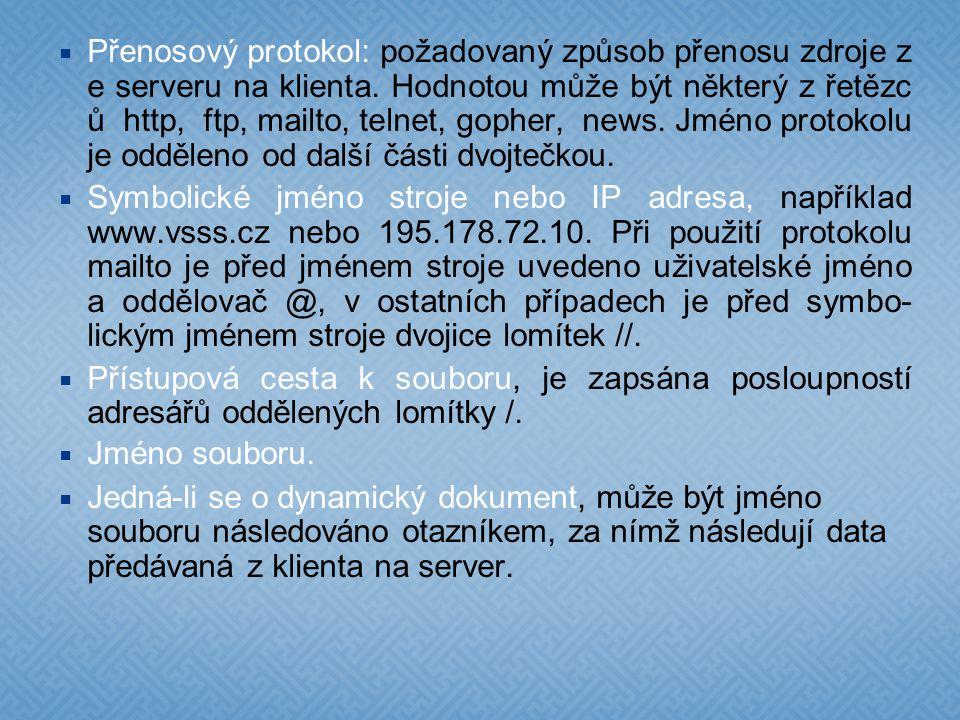  Přenosový protokol: požadovaný způsob přenosu zdroje z e serveru na klienta.