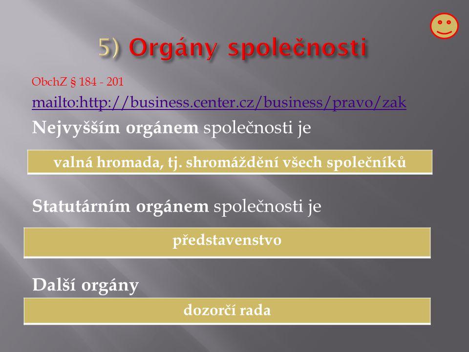 ObchZ § 184 - 201 mailto:http://business.center.cz/business/pravo/zak Nejvyšším orgánem společnosti je Statutárním orgánem společnosti je Další orgány valná hromada, tj.