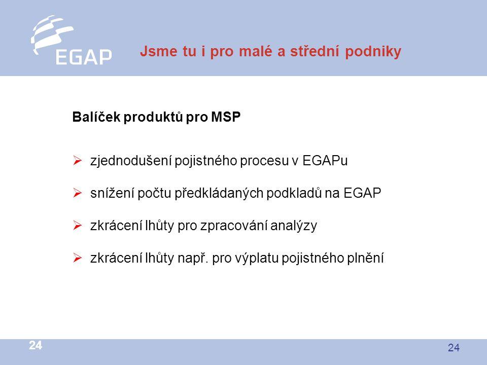 24 Jsme tu i pro malé a střední podniky Balíček produktů pro MSP  zjednodušení pojistného procesu v EGAPu  snížení počtu předkládaných podkladů na EGAP  zkrácení lhůty pro zpracování analýzy  zkrácení lhůty např.