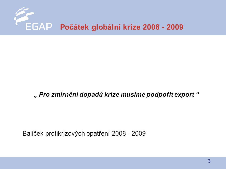 """3 """" Pro zmírnění dopadů krize musíme podpořit export Balíček protikrizových opatření 2008 - 2009 Počátek globální krize 2008 - 2009"""