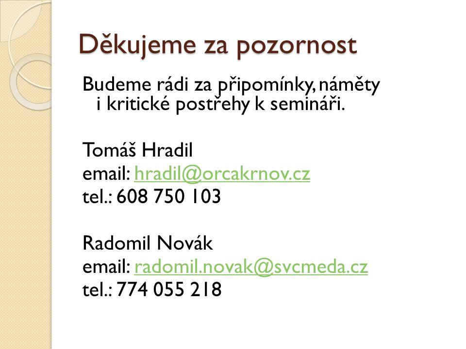 Děkujeme za pozornost Budeme rádi za připomínky, náměty i kritické postřehy k semináři. Tomáš Hradil email: hradil@orcakrnov.czhradil@orcakrnov.cz tel