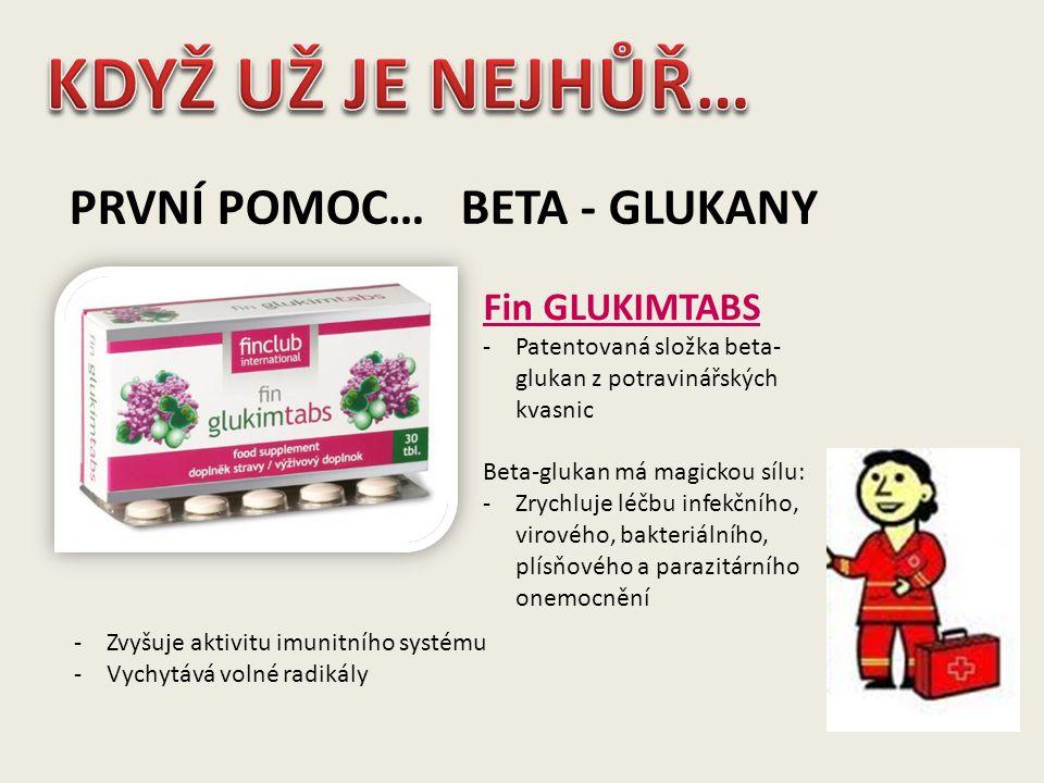 PRVNÍ POMOC… BETA - GLUKANY Fin GLUKIMTABS -Patentovaná složka beta- glukan z potravinářských kvasnic Beta-glukan má magickou sílu: -Zrychluje léčbu i