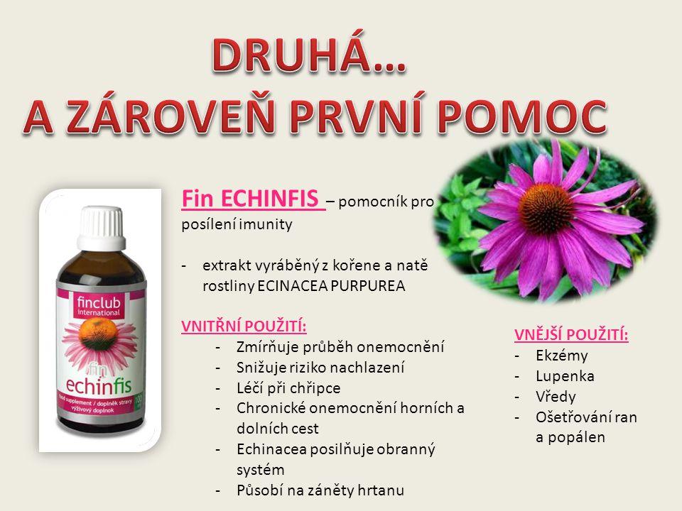 Fin ECHINFIS – pomocník pro posílení imunity -extrakt vyráběný z kořene a natě rostliny ECINACEA PURPUREA VNITŘNÍ POUŽITÍ: -Zmírňuje průběh onemocnění