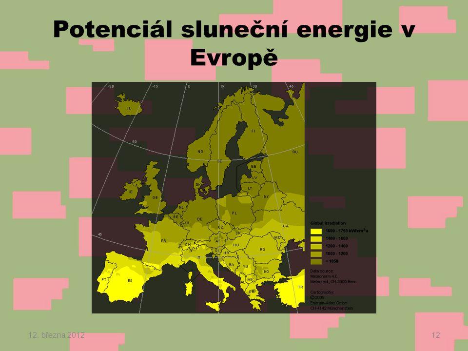 Potenciál sluneční energie v Evropě 12. března 201212