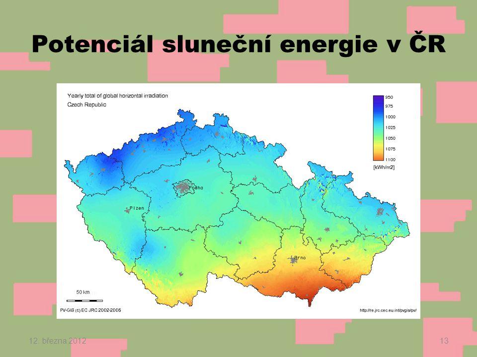Potenciál sluneční energie v ČR 12. března 201213