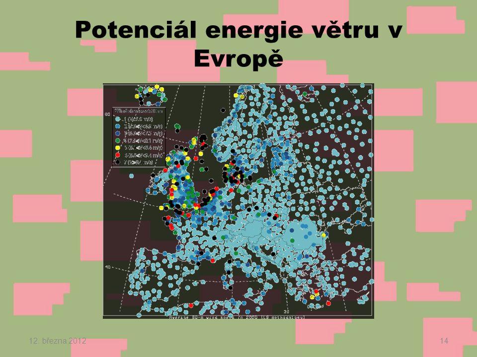 Potenciál energie větru v Evropě 12. března 201214