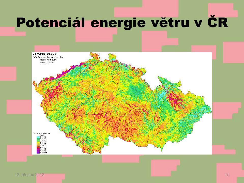 Potenciál energie větru v ČR 12. března 201215