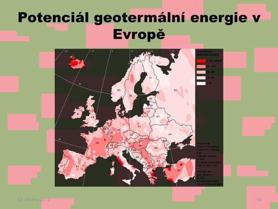 Potenciál geotermální energie v Evropě 12. března 201216