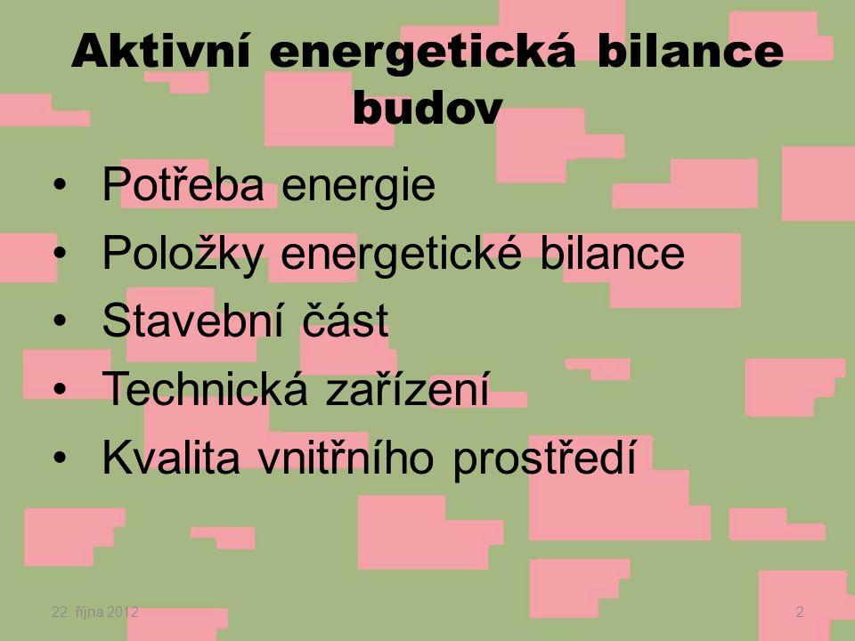 Aktivní energetická bilance budov •Potřeba energie •Položky energetické bilance •Stavební část •Technická zařízení •Kvalita vnitřního prostředí 22.