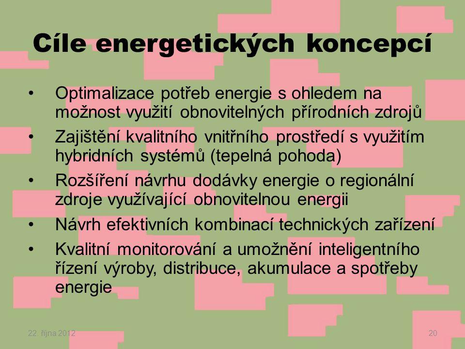 Cíle energetických koncepcí •Optimalizace potřeb energie s ohledem na možnost využití obnovitelných přírodních zdrojů •Zajištění kvalitního vnitřního prostředí s využitím hybridních systémů (tepelná pohoda) •Rozšíření návrhu dodávky energie o regionální zdroje využívající obnovitelnou energii •Návrh efektivních kombinací technických zařízení •Kvalitní monitorování a umožnění inteligentního řízení výroby, distribuce, akumulace a spotřeby energie 22.