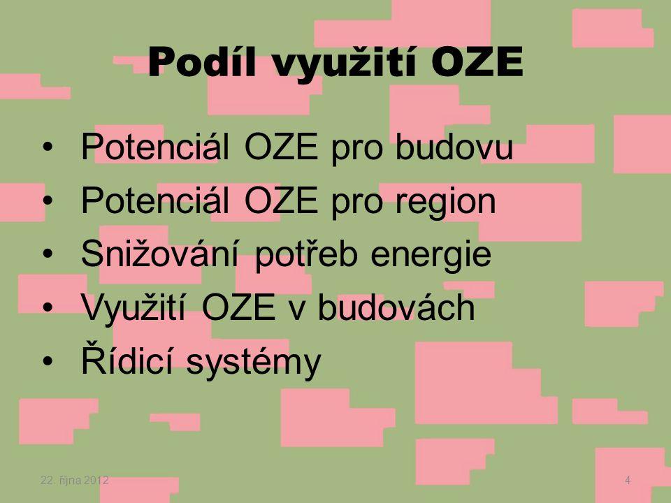 Podíl využití OZE •Potenciál OZE pro budovu •Potenciál OZE pro region •Snižování potřeb energie •Využití OZE v budovách •Řídicí systémy 22.